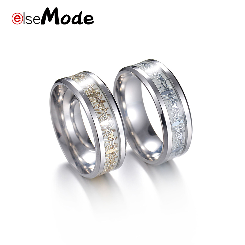Us 1 45 30 Off Elsemode Spiderman Fans Spider Luminous Ring Glow In The Dark For Women Men 316 L Titanium Stainless Steel Wedding Band Jewelry In