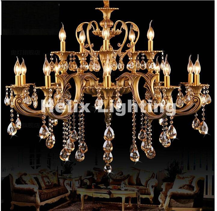 D950mm En Laiton Or Lustres En Cristal De Luxe Hôtel Lustre Lampe Luminaire CA 15L/18L100% Garanti Livraison Gratuite