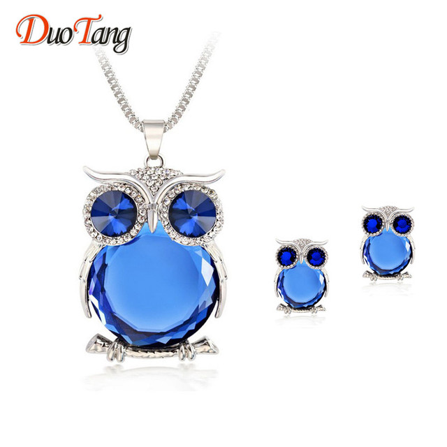 DuoTang Trendy Owl Jewelry Sets Fashion Rhinestone Crystal Jewelry  Statement Women Silver Color Chain Necklace And Earrings e107a6b262fa