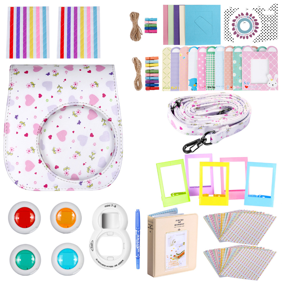 Neewer Blue/White 34 in 1 Accessories Kit for Fujifilm Instax Mini 8/8s: Case/Album/Selfie Lens/Colored Filter/Table Frame