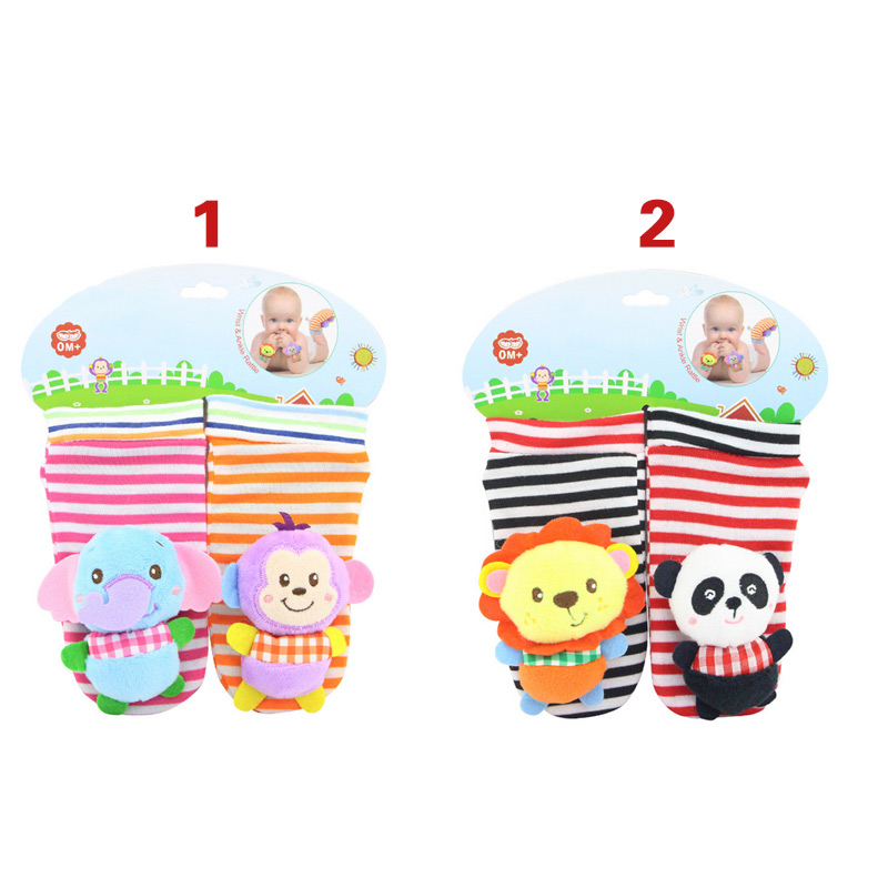 Fashion Infant Rattles Sock Toy Handbell Cartoon Animal Baby Foot Wrist Strap Plush Socks Toys For 0-3 Months Newborn M0