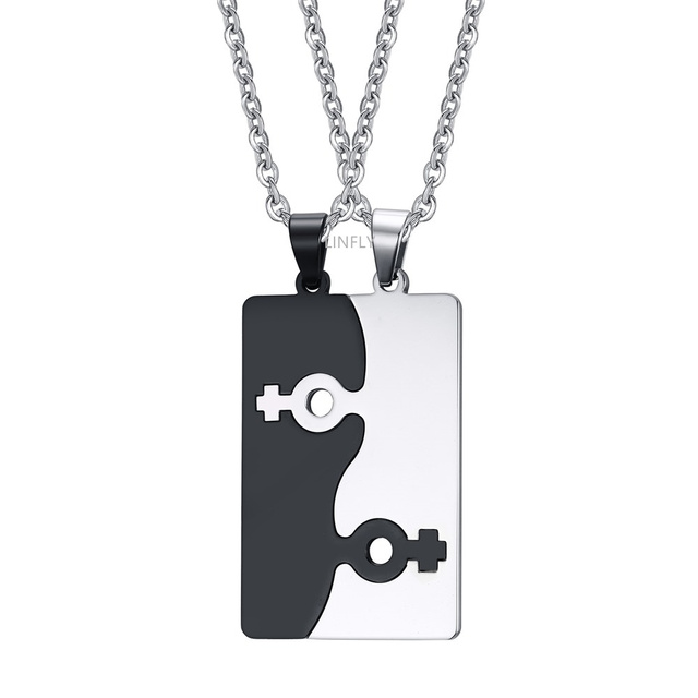 Fashion Jewelry Stainless Steel Blade Cards Lesbian Necklace Male/Female Symbol Jigsaw Couple Gay Pendant