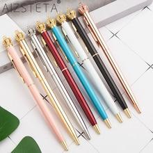 Высокого качества, блестящие шариковые ручки с БОЛЬШОЙ КОРОНОЙ, металлические шариковые ручки с кристаллами и бриллиантами, канцелярские принадлежности для студентов, черные