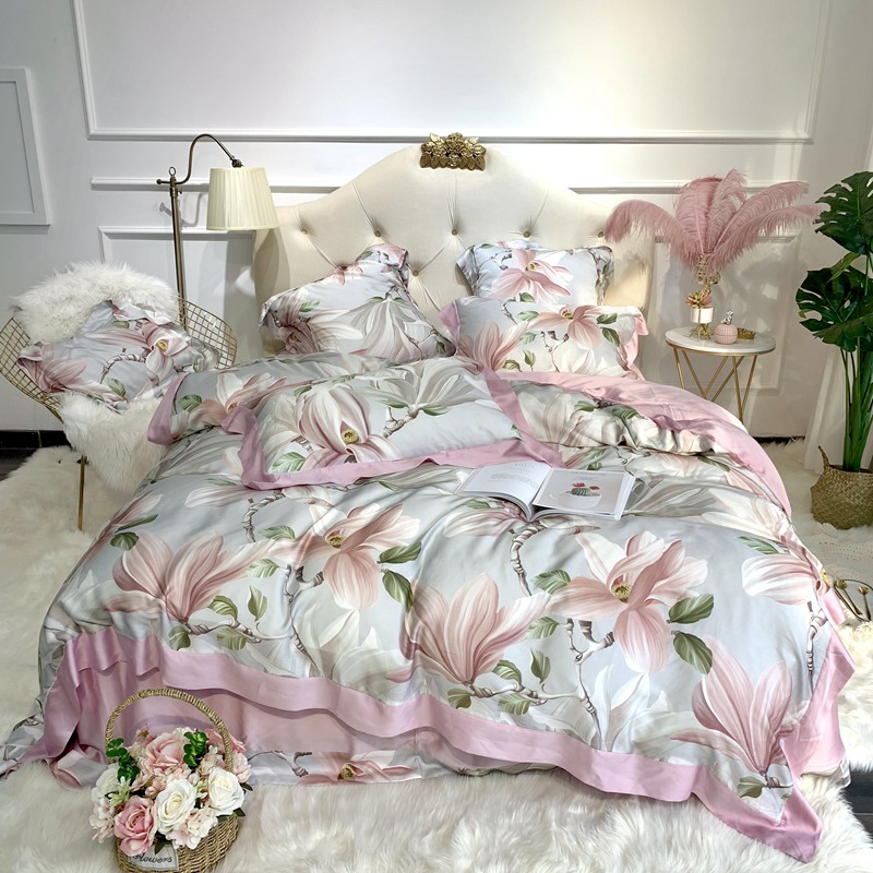 Shabby Blooming Floral Duvet Quilt Cover Colorful Flower Reversible Tencel Silk Ultra Soft Bedding Set Bed