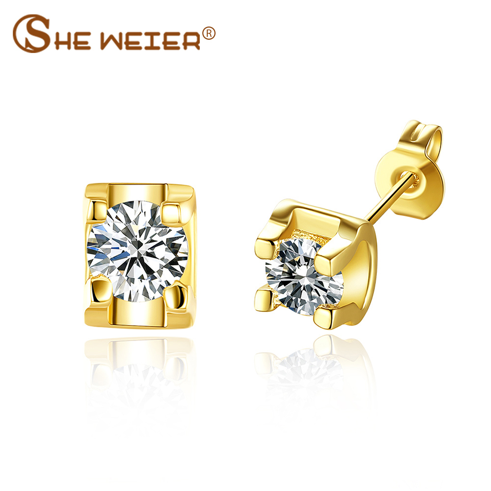 SHE WEIER small stud earrings earring female woman gifts for women geometric zircon earings fashion jewelry ear rings nausnice