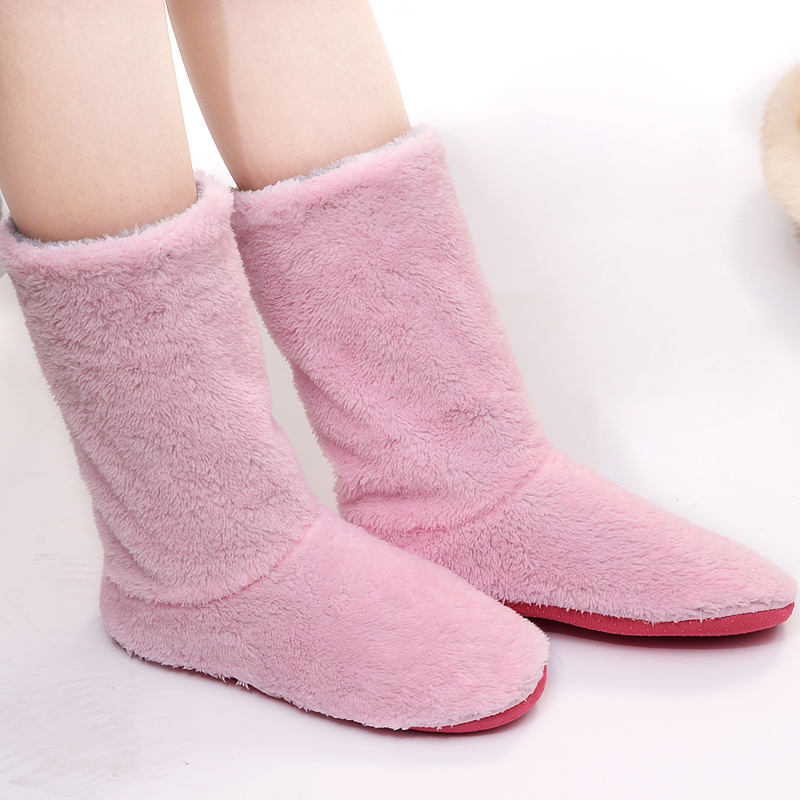 FRALOSHA Long tube Slippers Cotton slippers Women Winter Warm Home Cotton-padded Shoes Winter Soft bottom Indoor Plush Slippers men winter soft slippers plush male home shoes indoor man warm slippers shoes