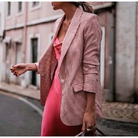Pink Plaid Blazer Women 2019 Spring Autumn Casual Long Sleeve Lined Office Lady Long Suit Jacket Fashion Outwear Femme Blazer