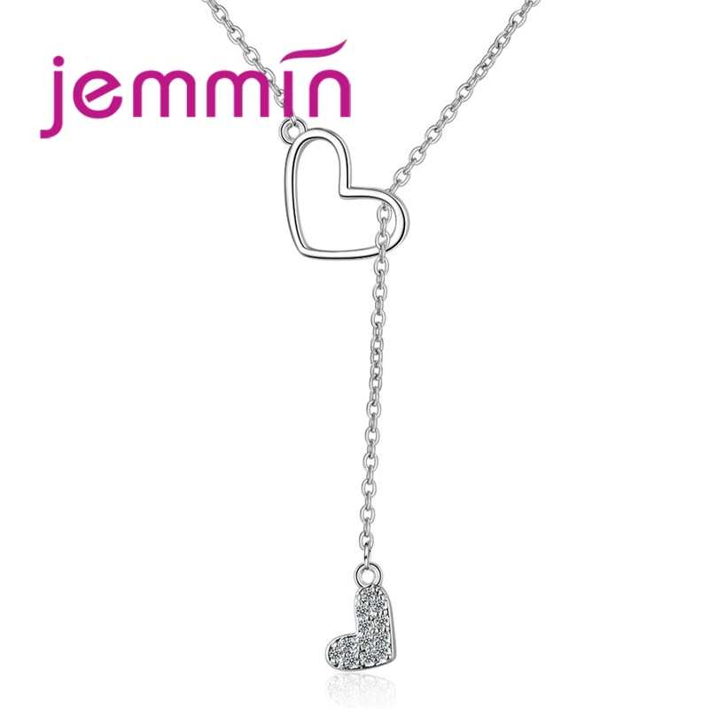 925 Sterling Silver Europe Fashion Jewelry Ultimate Simple Metal Double Heart Long Female Clavicle Necklaces Pendants