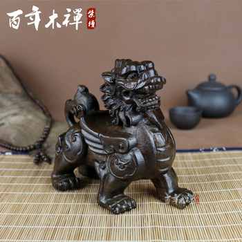 Zen century wood carving Kirin town house ornaments handmade wood crafts wood Feng Shui