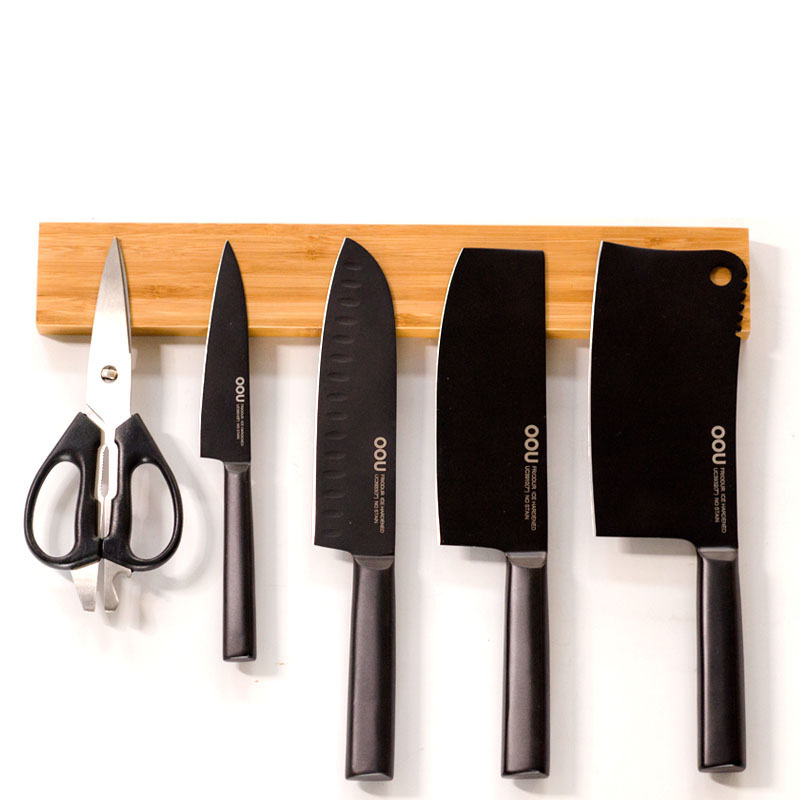 Kitchen magnetic attraction iron knife holder home knife holder storage wall hanging wood rack