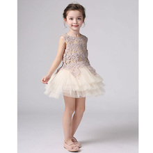 Girls Sleeveless Mesh Princess Dress Floral Girl Champagne Color Evening Birthday Party Dresses For Cute Girls Children Dress