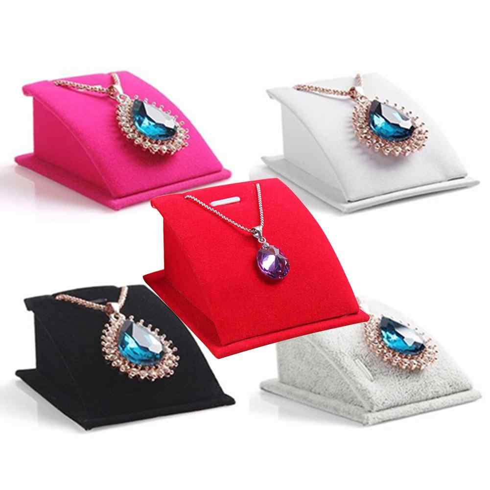 Fashion Velvet Holder Necklace Pendant Chain Jewelry Display Stand Show Rack Jewelry Stand Jewelry Pendant Necklace Display Stan