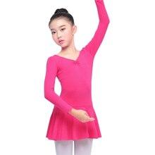 Children's Dance Costume Spring Children's Skirt Bowknot Ballet Clothing Female Long / Short Sleeve Dance practice Costume