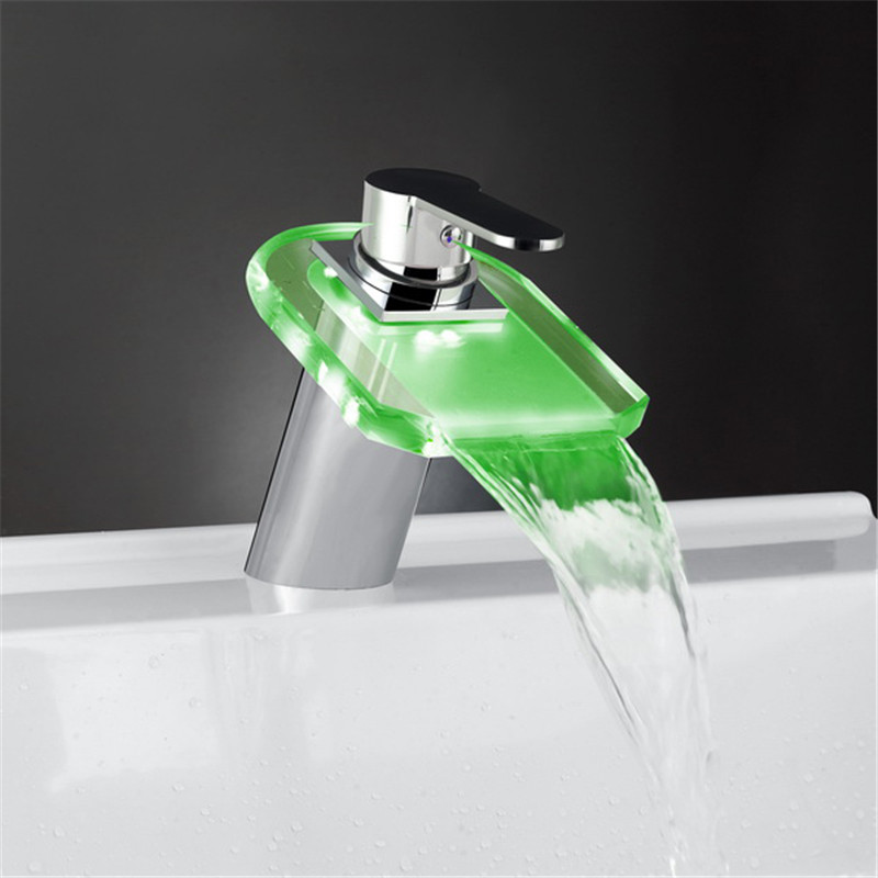 fashion high quality color can change brass chrome finish bathroom LED waterfall sink functional basin glass faucet