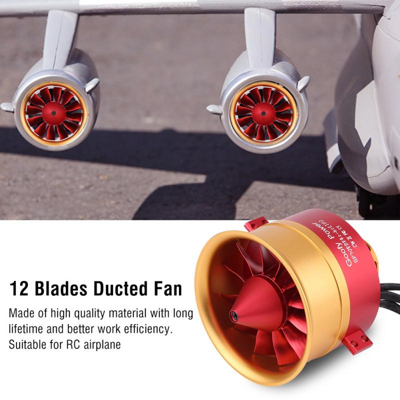 GP70mm 46S 12Blades 70mm Duct Fan with 2150KV Outrunner Motor for RC EDF Jet Airplane RC