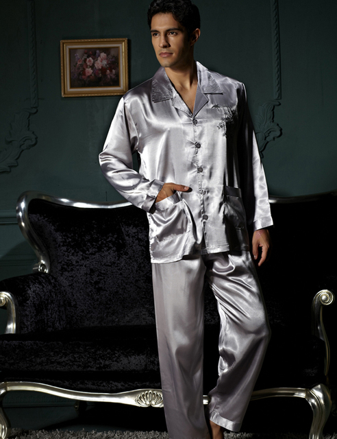 Confortável Duas Peças Conjuntos de Pijama Homens Turn Down Collar Pijamas Masculinos Sleepwear Cetim De Seda Plus Size Grande XXXL Cinza 3313