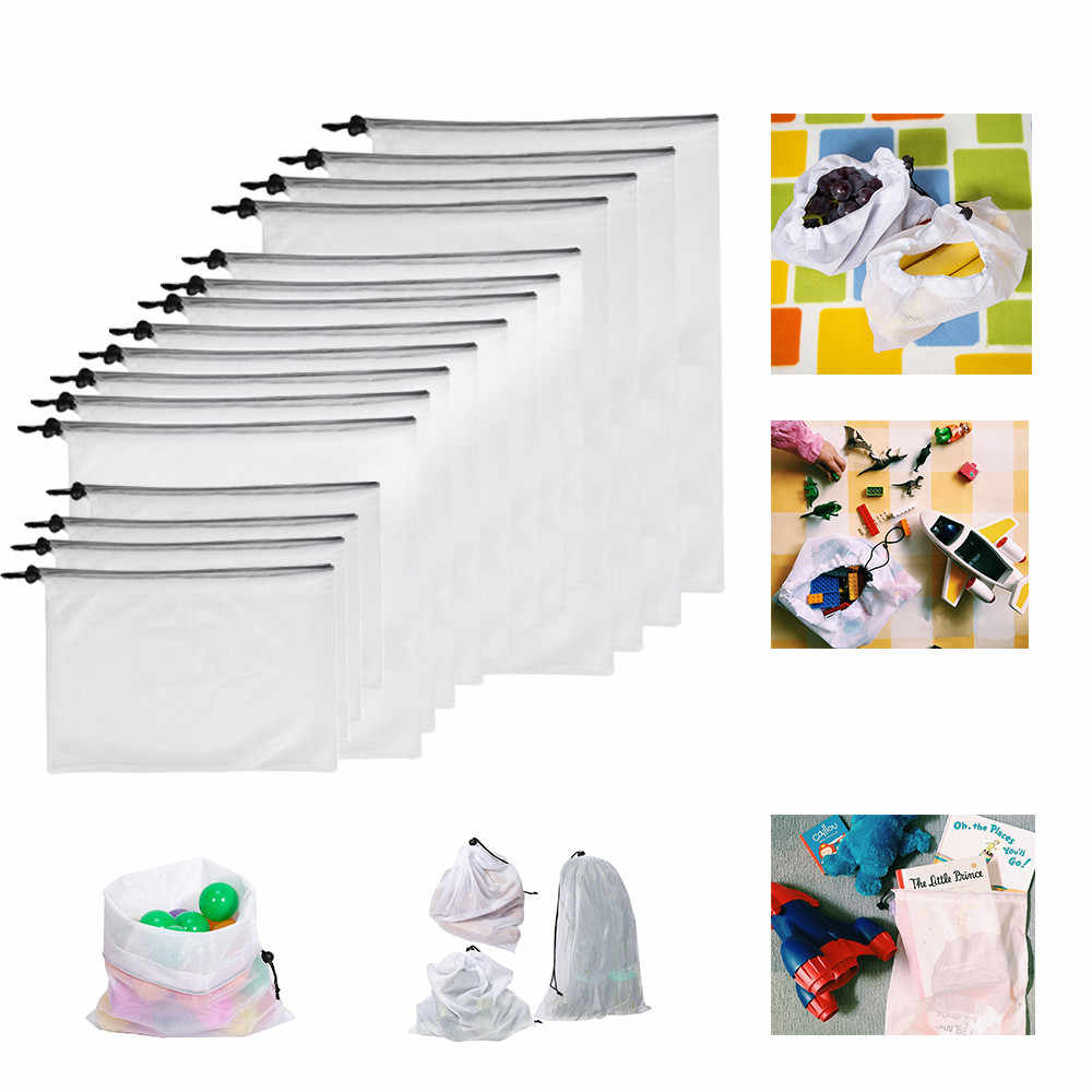 16pcs 3Sizes Reusable Produce Bags Washable Bags Shopping Vegetable Fruit Toy Storage Shopping Vegetable Fruit Toys Storage fkk4