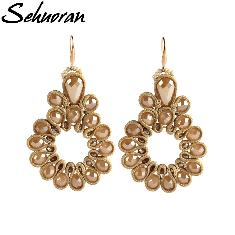 Sehuoran 2017New Earrings for woman big drop oorbellen voor vrouwen Crystal pendientes brincos statement hot sales earrings sehuoran drop earrings pendientes copper shell natural stone statement earrings for women wedding party jewelry bohemian