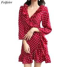 Women Dress 2019 Summer Korean version fashion sexy V-neck tie one-piece  dress Elegant Party ruffled wave point chiffon dress цены