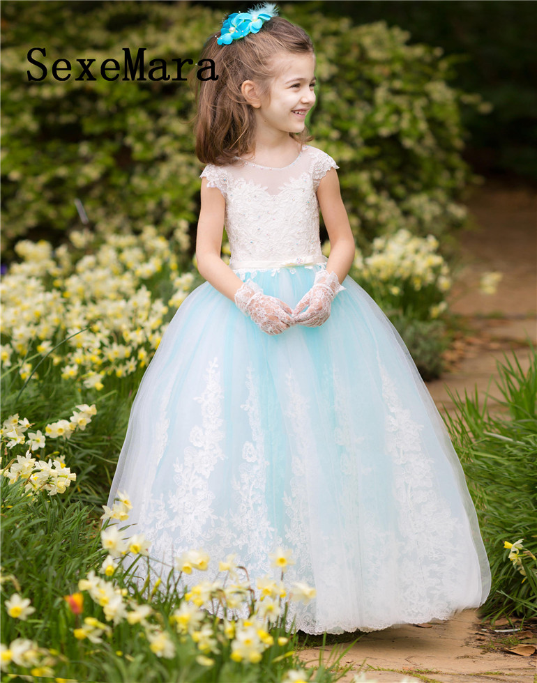 Sky Blue Flower Girl Dresses For Weddings White Lace First Communion Dresses For Girls Birthday Party Sweet Design Custom Made new arrival flower girl dresses for weddings first communion dresses for girls birthday party christmas gown custom made