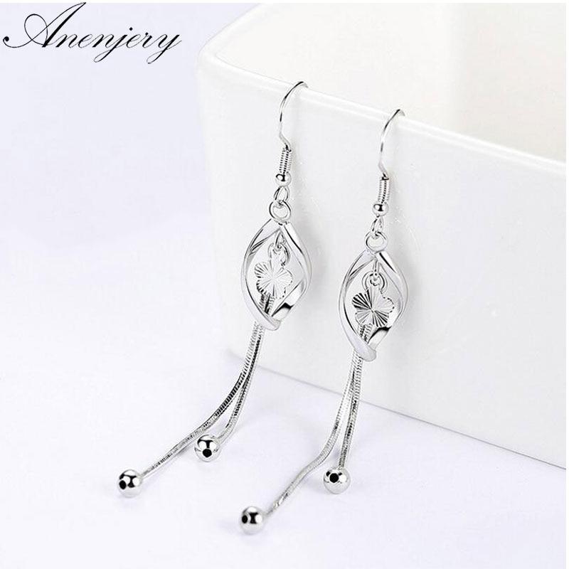 Anenjery 925 Sterling Silver Drop Earrings For Women Plum Flowers Pearl Twist Tassel Earrings Oorbellen Brincos S-E413