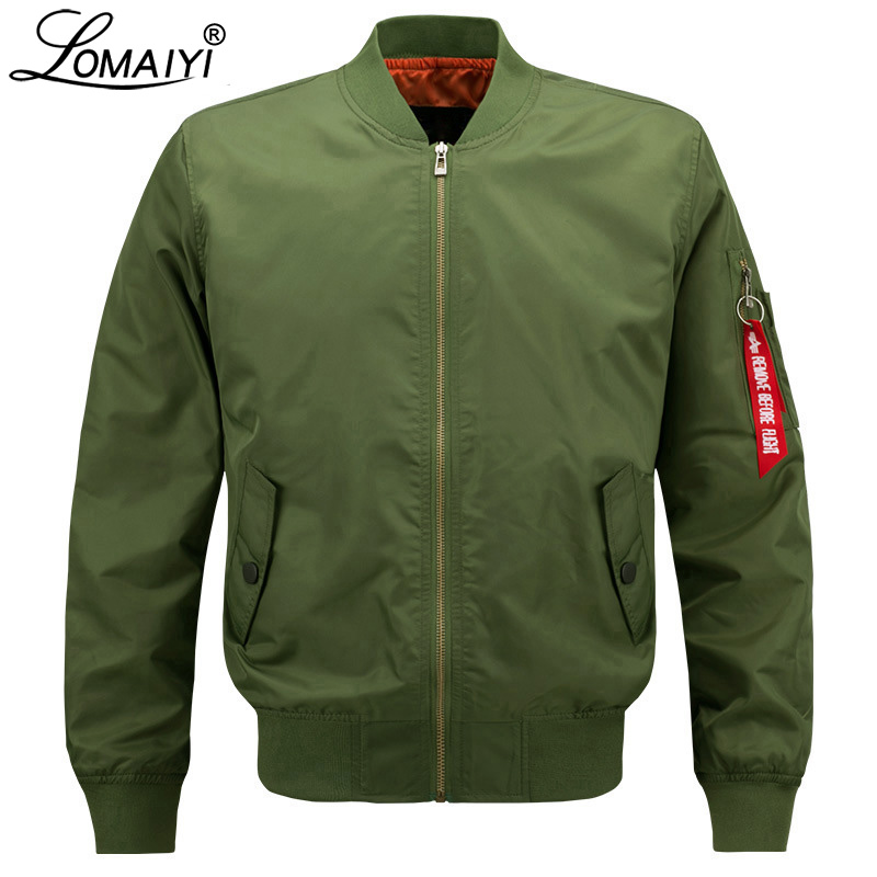 LOMAIYI 8XL Bomber Jacket Menn / kvinner Vår / Høst US Air Force Pilot Baseball Jacket Menn Bomber Jackets Man Black Coats BM002