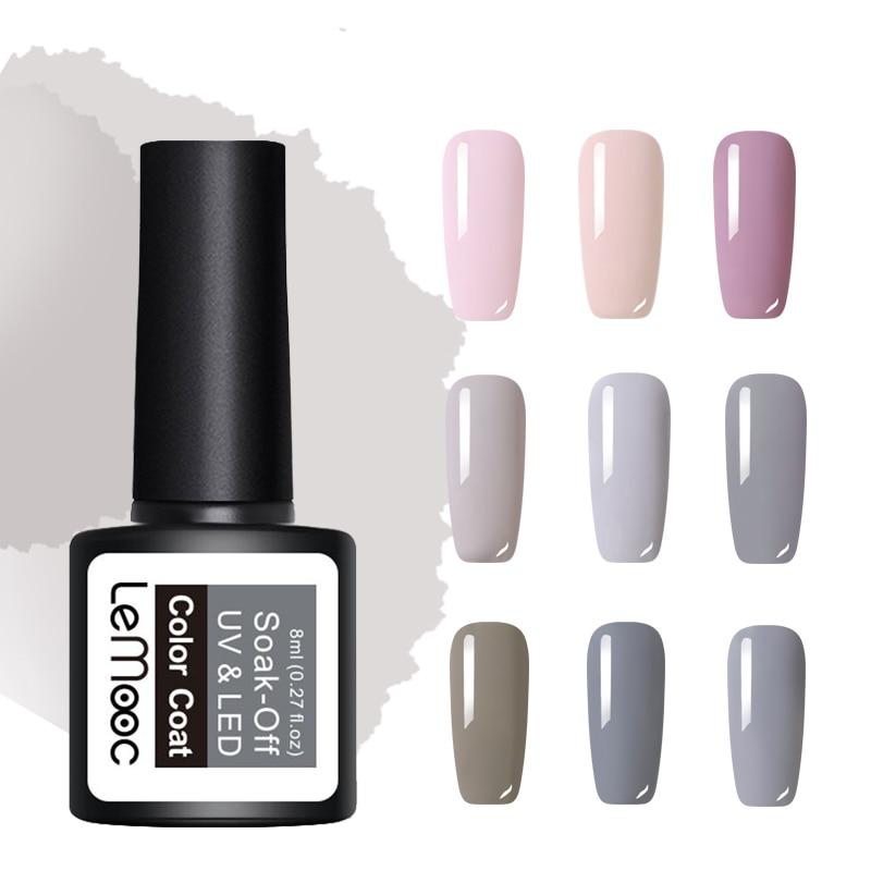 LEMOOC 8ml Nude Series Nail Gel Polish Pink Gray Series 50 Pure Colors Soak Off LED