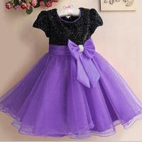 Girls Brand Flower Girl Party Dress Sequins Round Neck Short Sleeve Gauze Princess Dress With Bow
