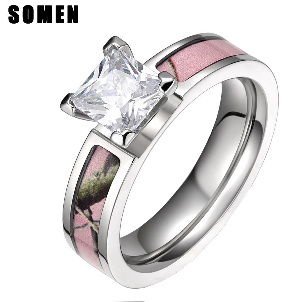 5mm Titan Zirkonia Frauen Ring Rosa Baum Camo Ringe Weibliche Verpflichtungs-schmucksachen Hochzeit Band Aneis Feminino anillos mujer