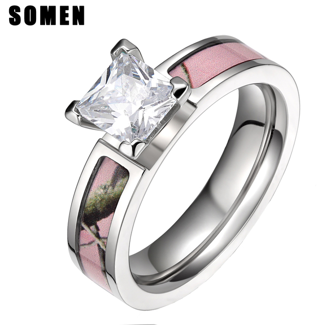 5mm Titanium Cubic Zirconia Women Ring Pink Tree Camo Rings Female