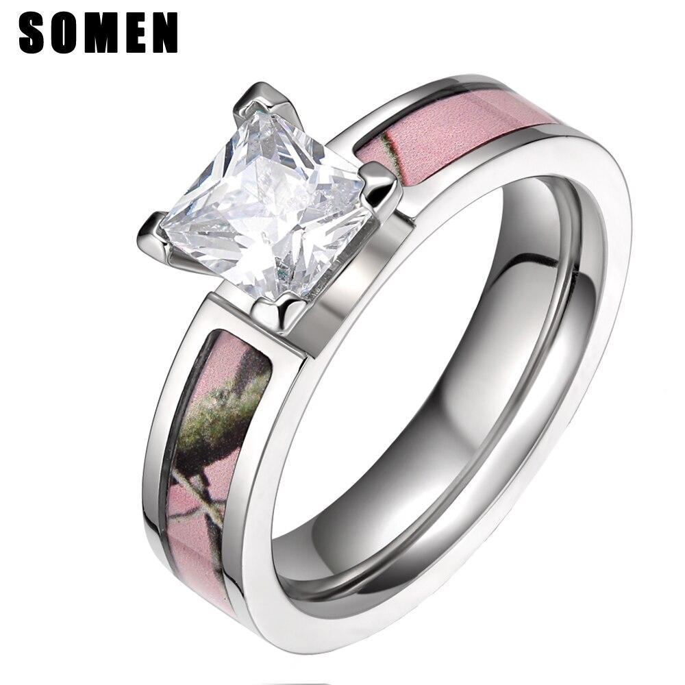 Somen Ring Women 5mm Cubic Zirconia Titanium Ring Pink Tree Camo Design Wedding Rings Women Fashion Jewelry Boho Anillos Mujer