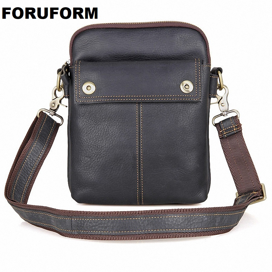 HOT!! 2018 Genuine Leather Bags Men High Quality Messenger Bags Small Travel Black Crossbody Shoulder Bag For Men LI 1611