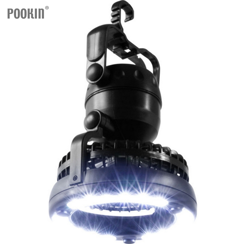 Multifunction Camping Travel Lantern 18 LED 2.5W 2 in 1 Outdoor Portable LED Fan Light Tent Lamp With Hook