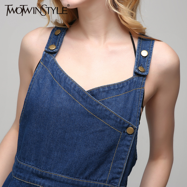[TWOTWINSTYLE] 2017 Summer Plus Size XL Long Denim Dress of the Big Size Spaghetti Strap New Fashion Clothing