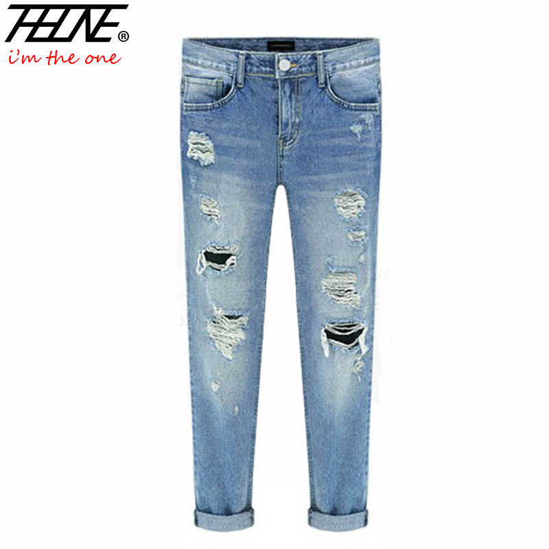 Aliexpress.com  Buy Spring New Women Jeans Ripped Holes Fashion Straight Full Length Mid Waist ...