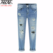 Spring New Women Jeans Ripped Holes Fashion Straight Full Length Mid Waist Famale Washed Denim Pants Cotton Trousers