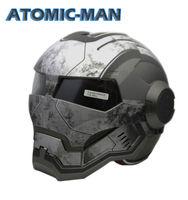 MASEI 610 ATOMIC MAN Action Man MOTORCYCLE BIKE HELMET MATT WHITEGRAY S M L XL Black