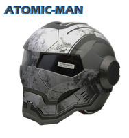 MASEI 610 ATOMIC MAN Action Man MOTORCYCLE BIKE HELMET MATT WHITEGRAY S M L XL Black