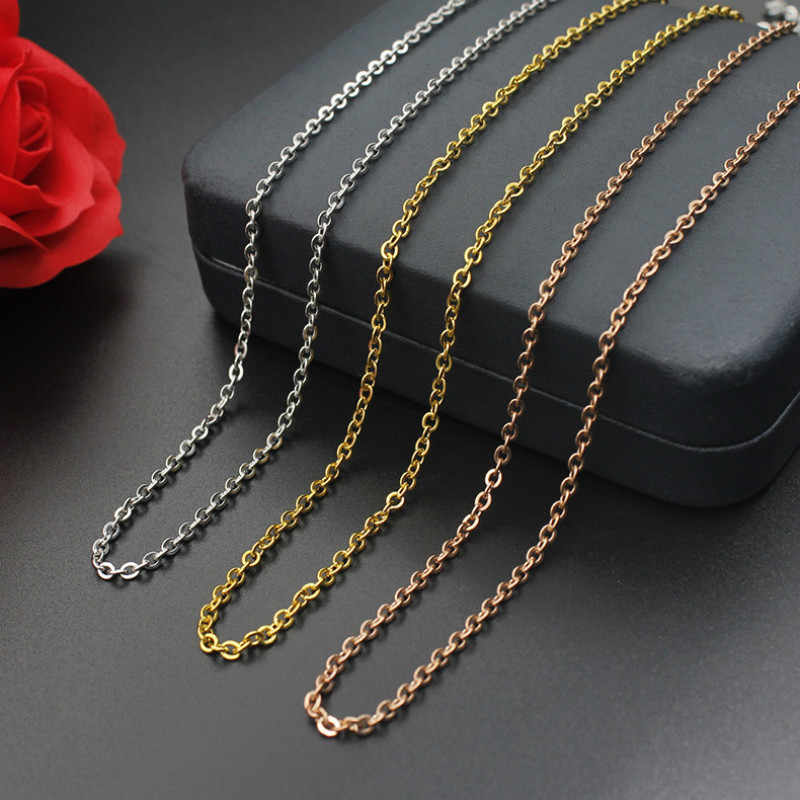 8Seasons Vintage Silver/Gold/Rose Gold Color Stainless Steel Women Men Cross Link Chain Necklace Men DIY Jewelry Accessories
