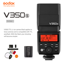 Godox V350S TTL Camera Flash GN36 1/8000s HSS 2.4G Wireless X System Li-ion battery Speedlite for Sony DSLR Camera godox v350n mini flash ttl hss 1 8000s 2 4g x system built in 2000mah li ion battery camera speedlite flash for nikon camera
