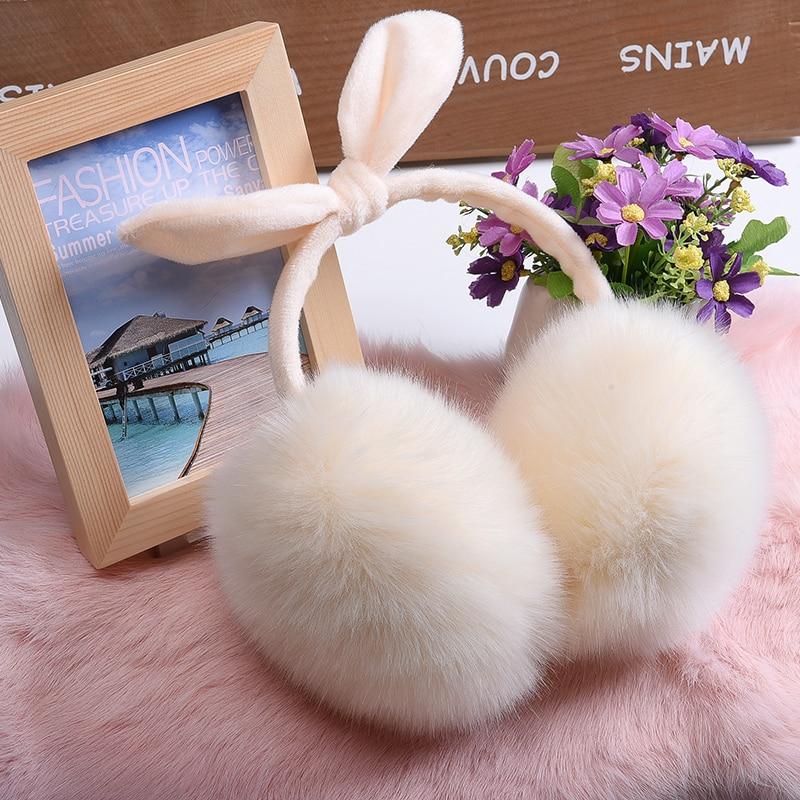 11 colors new Winter Earmuffs faux Fur ear Warmer fluffy plush Headband bowknot design girls cute Ear muff ear cover in winter