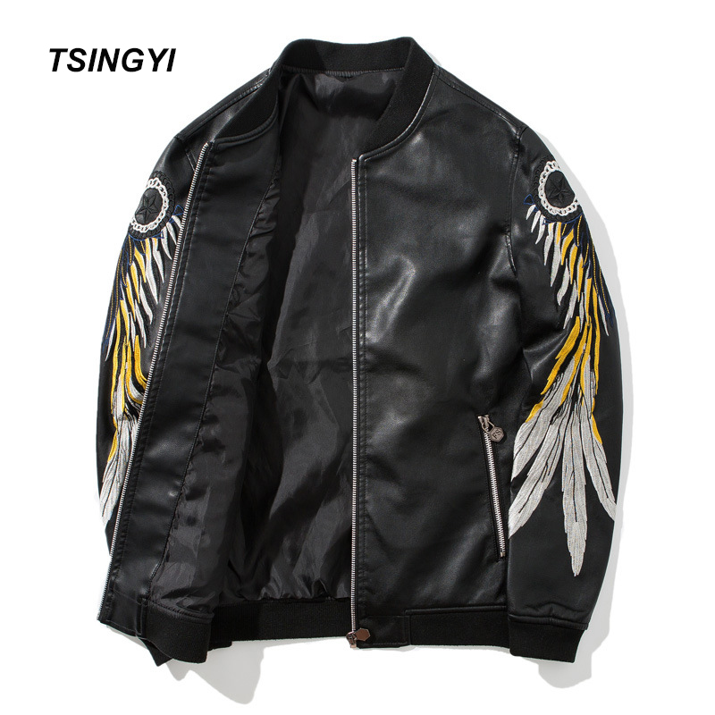 Tsingyi Embroidery Feather Wings Motorcycle Men's Leather Jacket PU Stand Collar Moto Jaket Leather Men Veste Cuir Homme Coats