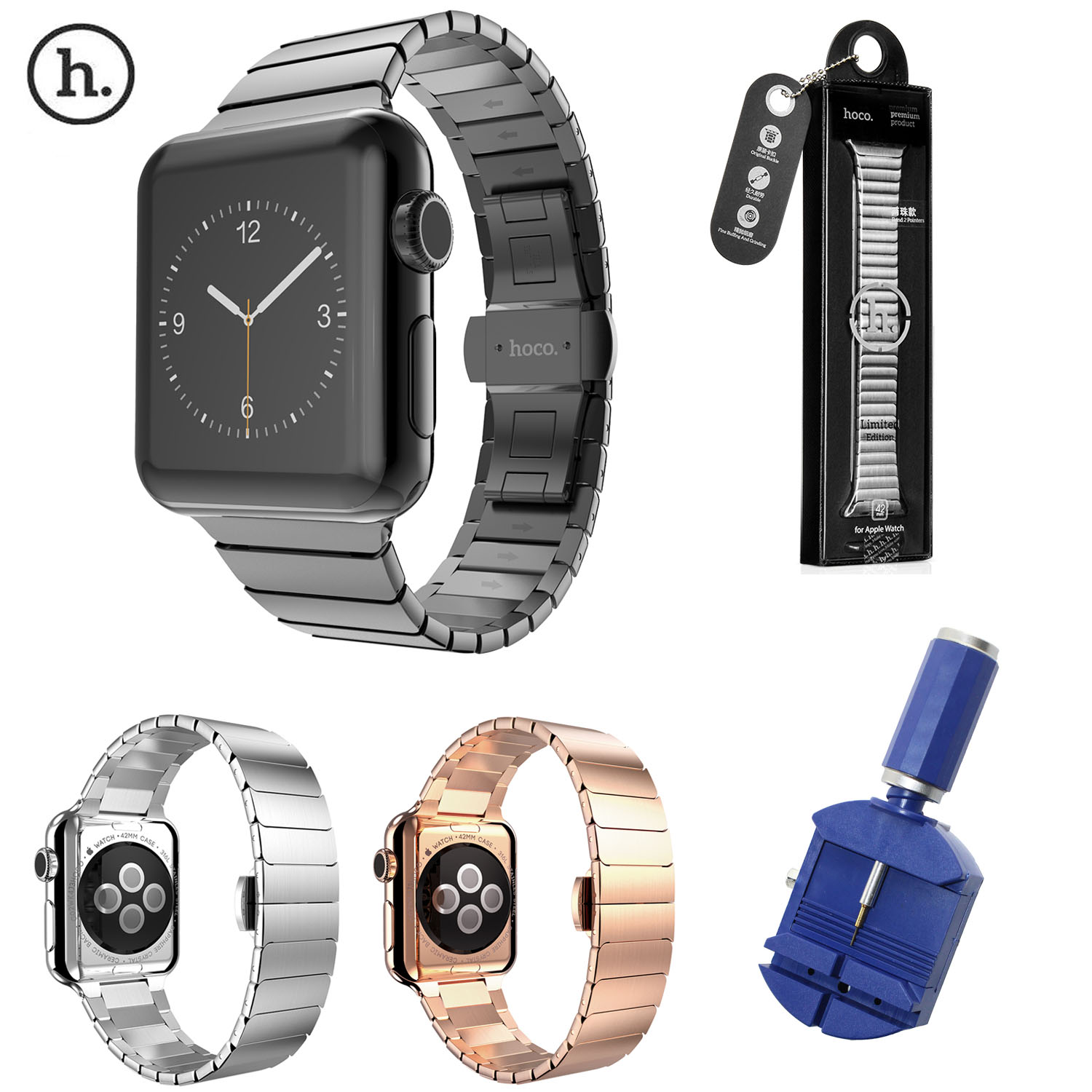 Original HOCO Watchband For Apple Watch Stainless Steel Link Band 42MM Butterfly Buckle Strap For iWatch Series 1/2/3 Bracelet eastar milanese loop stainless steel watchband for apple watch series 3 2 1 double buckle 42 mm 38 mm strap for iwatch band