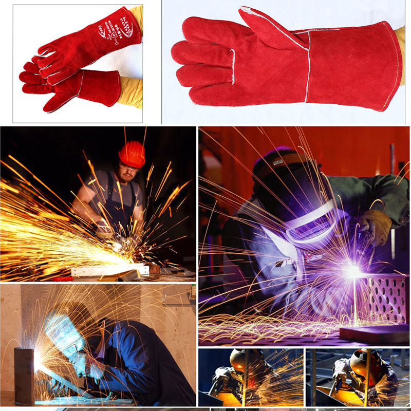 Work Gloves Cowhide Welding Gloves Welder's High Temperature Resistance Wear-Resistant Long Design Wear Work Gloves high quality hand tool gloves 12 pairs 700g cotton gloves wear resistant work thick gloves against high low temperature gloves