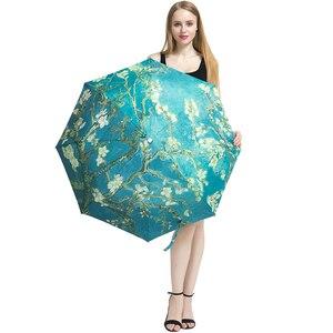 Image 5 - فنسنت فان جوخ مظلة زهر اللوز النفط اللوحة 8 إطار مقاوم للريح الضلع للنساء المحمولة ثلاثة مظلة الفن للطي