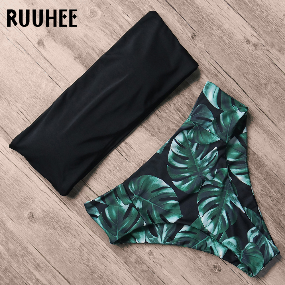 RUUHEE vendaje Bikini traje De baño De las mujeres De cintura alta Bikini 2018 traje De baño Push Up Maillot De Bain mujer Abrigos