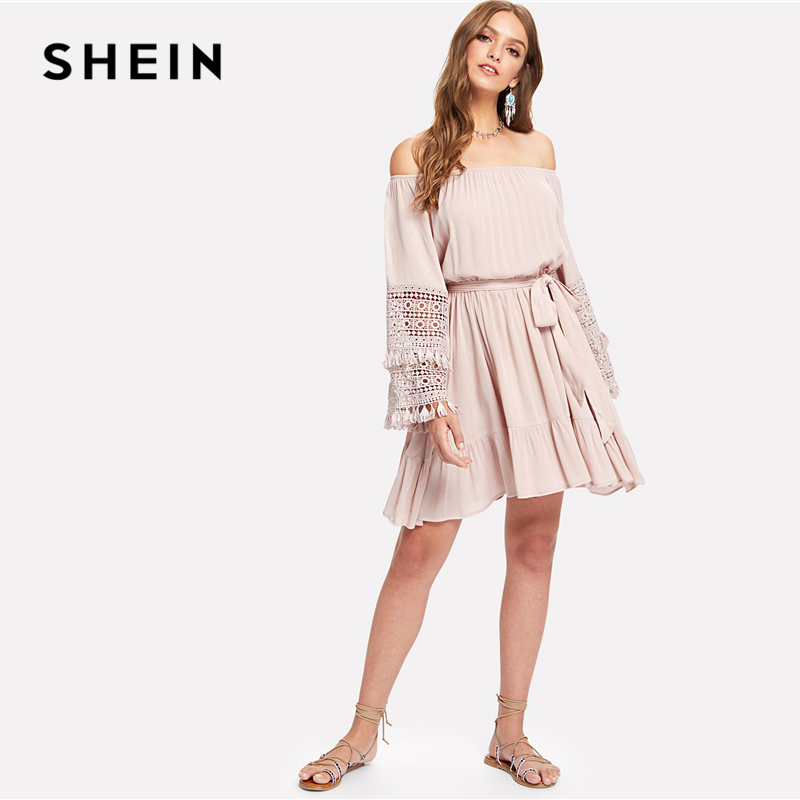 d605158d2a SHEIN Pink Vacation Boho Bohemian Beach Tassel Detail Eyelet Lace Bell  Sleeve Belted Bardot Dress Summer Women Casual Dresses-in Dresses from  Women's ...