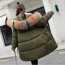 women Big Colored fur collar winter coat thickened parka slim long down cotton jacket Plus Size 3XL