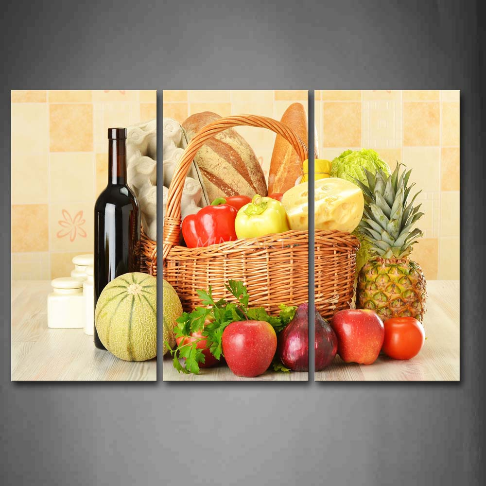 3 Piece Wall Art Painting Still Life Various Fruit