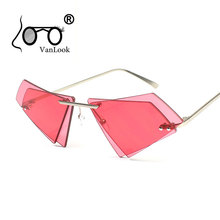 Crystal Sunglasses Women Men Rimless Sun Glasses for Sexy Lady Double Lens Shades Irregular Oculos Fashion Blue Hot Pink fashionable women s sexy style necklace w crystal inlaid golden